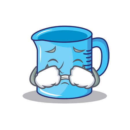 Crying measuring cup character cartoon vector illustration Illustration