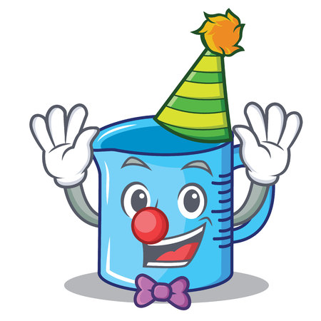 Clown measuring cup cartoon character illustration.