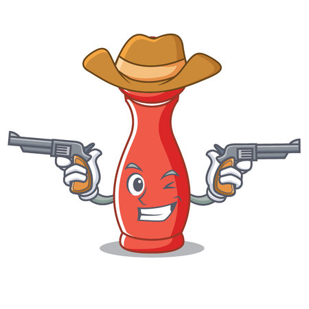 Cowboy pepper mill cartoon illustration. Illustration