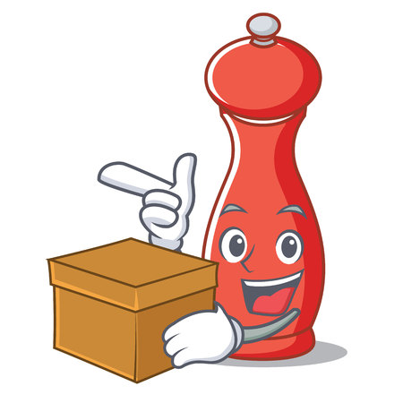 With box pepper mill character cartoon vector illustration Illustration