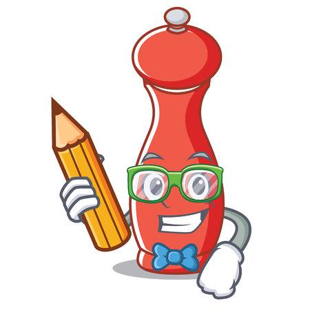 Student pepper mill character cartoon vector illustration