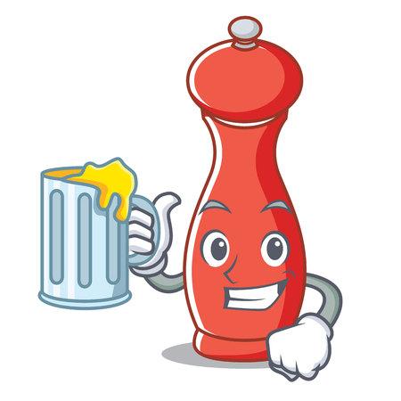 Pfeffermühle mit Bier Zeichentrickfigur Illustration