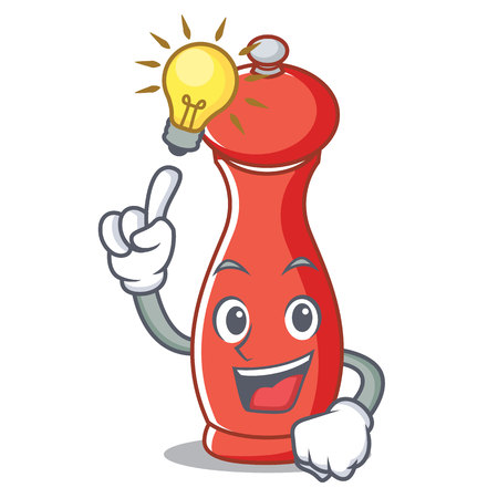 Have an idea pepper mill cartoon character illustration.