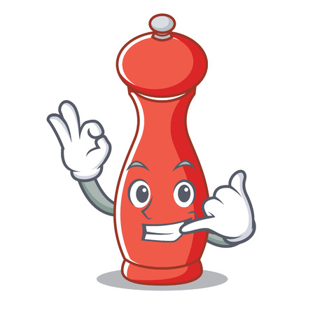 Call me pepper mill character cartoon vector illustration