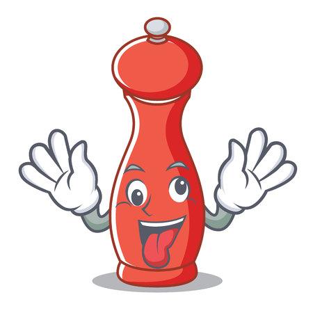 Crazy pepper mill character cartoon vector illustration