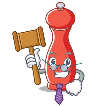 Judge pepper mill character cartoon vector illustration