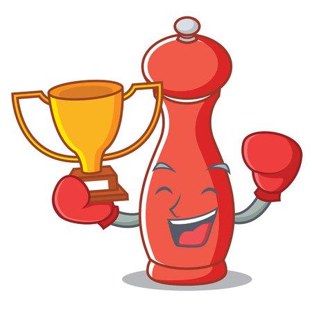 Boxing winner pepper mill character cartoon vector illustration