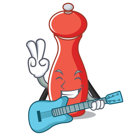 Pepper mill with guitar cartoon character illustration.