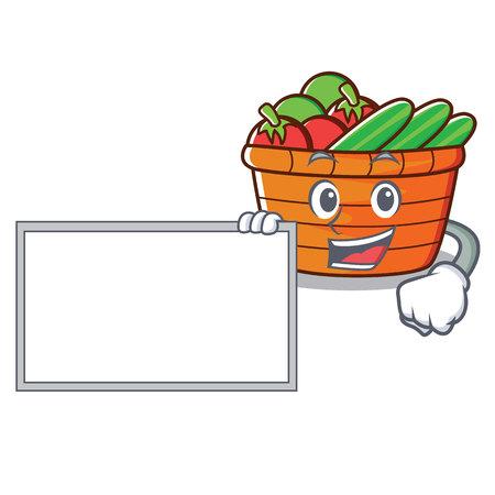 With board fruit basket character cartoon, vector illustration. Illustration