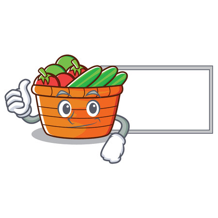 Thumbs up with board fruit basket character, vector illustration.