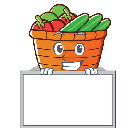 Grinning with board fruit basket character cartoon, vector illustration.
