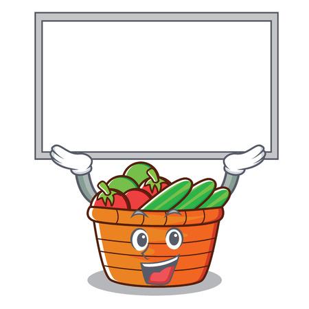 Up board fruit basket character cartoon, vector illustration.  イラスト・ベクター素材