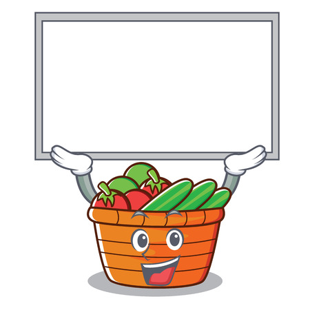 Up board fruit basket character cartoon, vector illustration. 일러스트