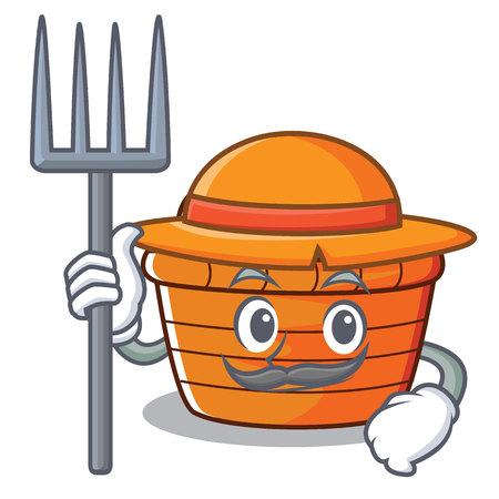 Farmer fruit basket character cartoon, vector illustration. Illustration
