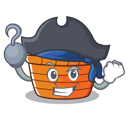 Pirate fruit basket character cartoon, vector illustration.