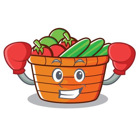 Boxing fruit basket character cartoon, vector illustration.