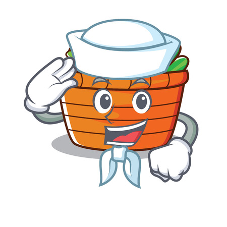 Sailor fruit basket character cartoon vector illustration