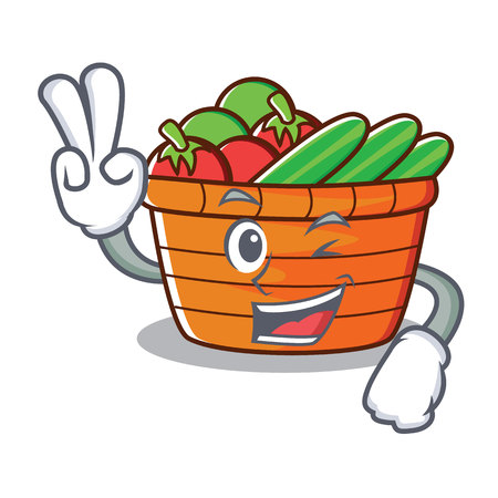 2本指フルーツバスケットキャラクター漫画ベクトルイラスト  イラスト・ベクター素材