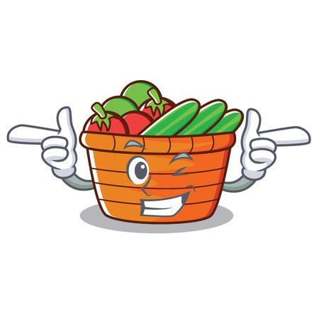 Wink fruit basket character cartoon vector illustration