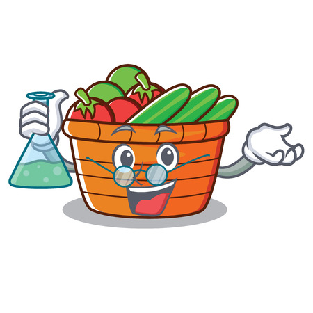 Professor fruit basket character cartoon vector illustration Illustration