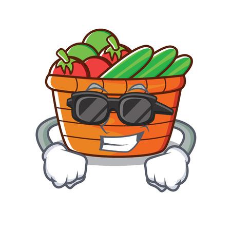 Ilustración de dibujos animados de personaje de cesta de fruta exitosa con gafas de sol