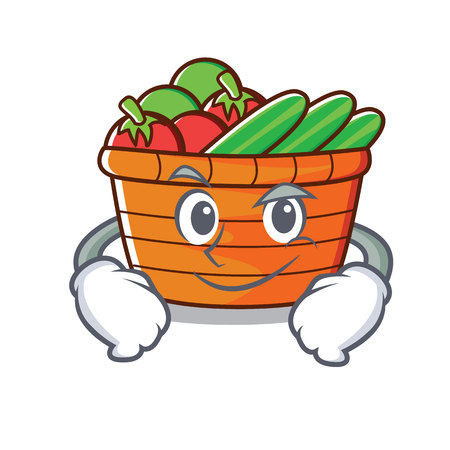 Smirking fruit basket character cartoon vector illustration