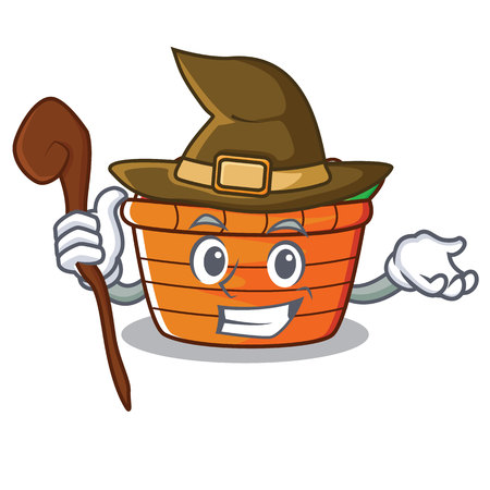 Witch fruit basket character cartoon vector illustration Illustration