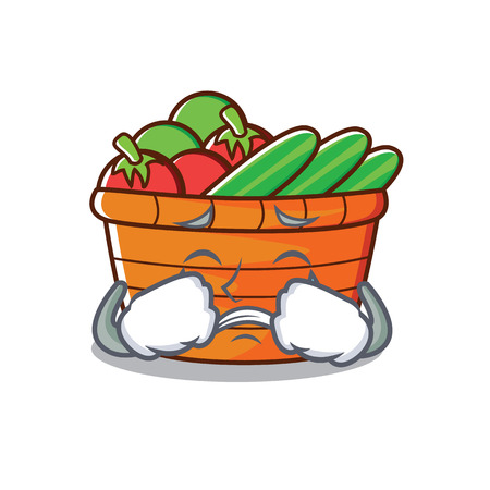 Crying fruit basket character cartoon vector illustration Illustration