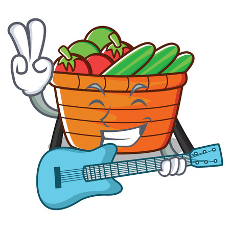 With guitar fruit basket character cartoon vector illustration