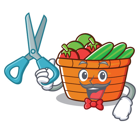 Barber fruit basket character cartoon vector illustration