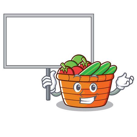 Bring board fruit basket character cartoon vector illustration