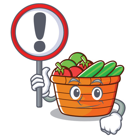 With sign fruit basket character cartoon illustration.