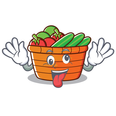 Crazy fruit basket character cartoon, vector illustration. Illustration