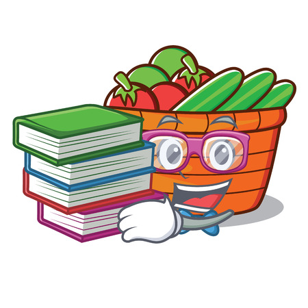 Student with book fruit basket character cartoon