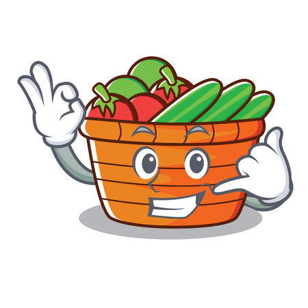 Call me fruit basket character cartoon vector illustration Illustration