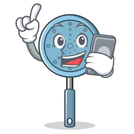 Avec illustration de vecteur pour le téléphone ustensile skimmer personnage de dessin animé