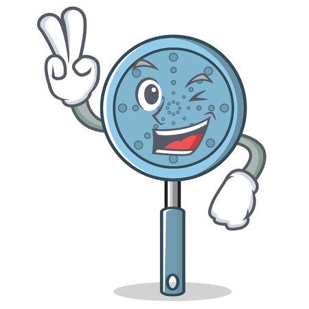 Two finger skimmer utensil character cartoon vector illustration