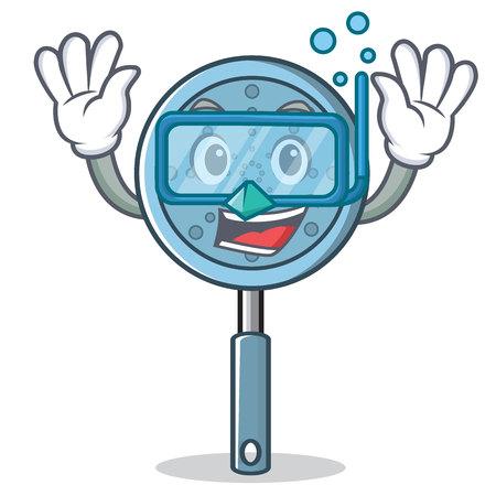 Diving skimmer utensil character cartoon vector illustration Vectores