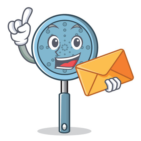 With envelope skimmer utensil character cartoon vector illustration