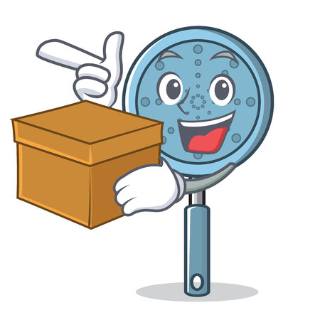 With box skimmer utensil character cartoon vector illustration Illusztráció