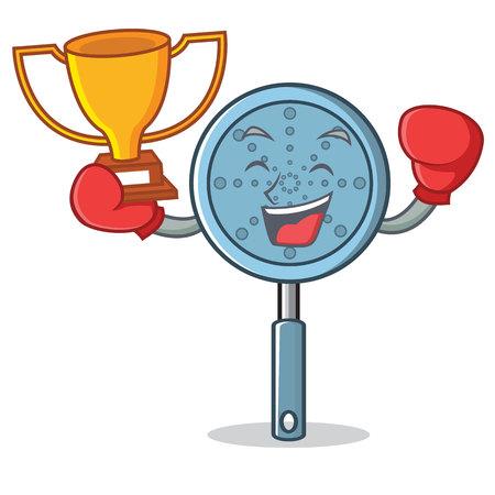 Boxing winner skimmer utensil character cartoon vector illustration Иллюстрация