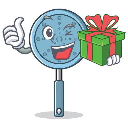 With gift skimmer utensil character Иллюстрация