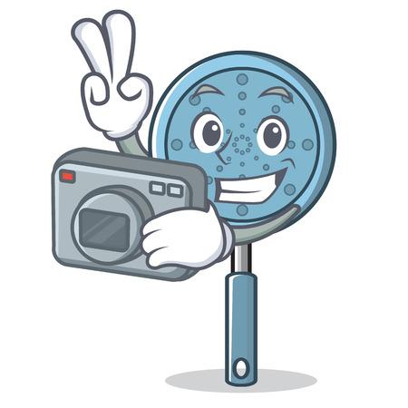 Photographer skimmer utensil character Иллюстрация