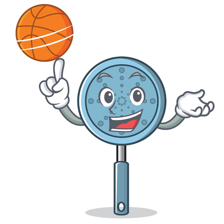 With basketball skimmer utensil character cartoon vector illustration