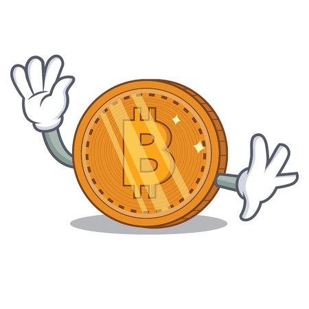 Waving bitcoin coin character cartoon vector illustration Illustration