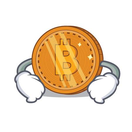 Hand on waist bitcoin coin character cartoon vector illustration Illustration