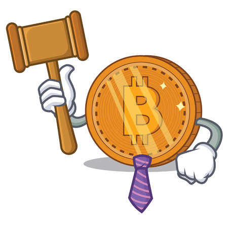 Judge bitcoin coin character cartoon vector illustration