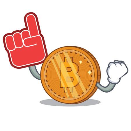 Foam finger bitcoin coin character cartoon vector illustration