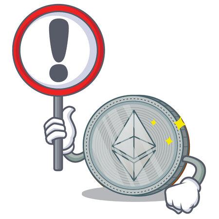 Con signo Ethereum moneda personaje de dibujos animados vector ilustración Ilustración de vector