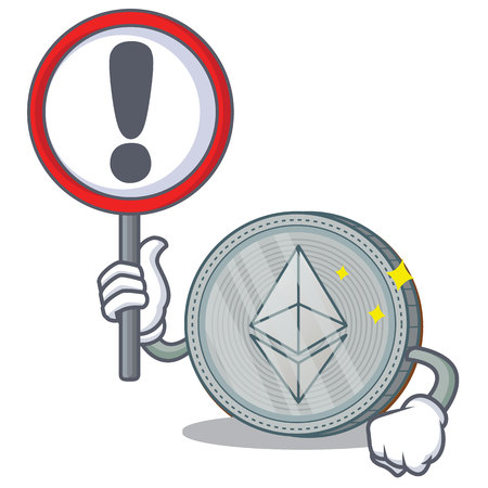 With sign Ethereum coin character cartoon vector illustration